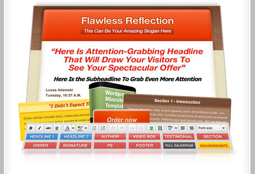 Product picture Flawless Reflection WordPress Minisite/Salespage Template and Salesletter Plugin + PLR