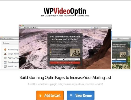 Product picture Wordpress Video Optin - Video Background Squeeze Pages - PLR WP Plugin
